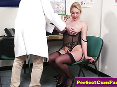 Busty english babe in lingerie sucks til cum