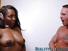 Real ebony babe rides cock