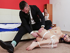 Wife surprises husband with his hot sexretary tied up naked