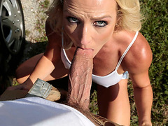 Cock craving MILF suck cock on the road