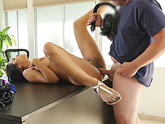 Big boobs latina Abby Lee Brazil fucks in a loan office