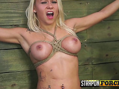 Mistress Fucks Teen Babe in Bondage