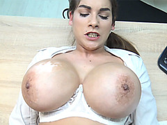 Humongous fake boobs MILF needs a loan to pay for them
