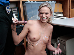 Blonde chick Emma Hix sucked a long dick inside the stock room