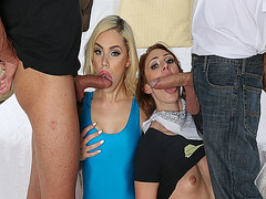 Alyce Sage and Kimberly Moss blowjob their dads cocks