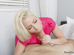 Natural busty blonde Milf fucks in bed