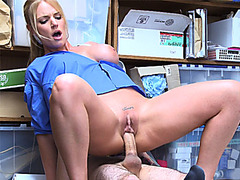 Female mall cop MILF perkys a young guy into sex