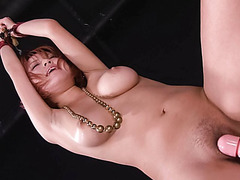 Busty babe in tight red bikini stripping off and toyed - More at javhd.net