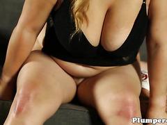 Queening BBW sucking dick in lingerie