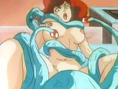 Busty hentai gets drilled all hole by monster snakes
