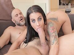 Bianka Blue nibbles Nacho Vidals cock and suck it deep throat