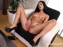 Sex Toys - Raven haired Kara fucks a monster sized black dildo
