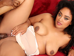 Full Figured Black Slut Kylayah Sparks Has a BBC Jammed in Her Mouth and Snatch