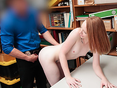 Katy punished by sucking officers bigcock