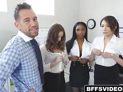 Three interns got fucked doggystyle in pyramid form