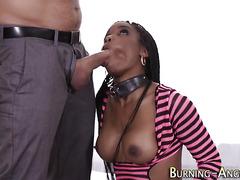Ebony rocker rides cock