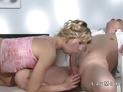 Shaved pussy mom gets fucked