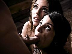 Pervert Seth fucked teens Adriana and Sadie's cunts