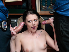 Shoplifter Megan Sages threesome with two LPs huge hard cock