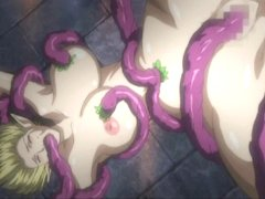 Busty hentai caught and brutally fucked by tentacles