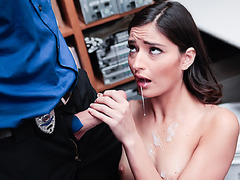 Teen shoplifter Emily bangs and gets a big facial