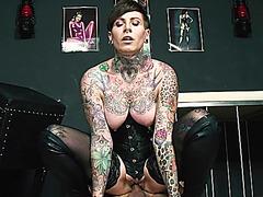 HITZEFREI Tattooed German MILF milking a big cock