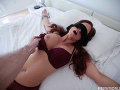 Sexy MILF Sloppy blowjob for stepsons dick