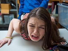 Monsterous cock pounding Anastasia Rose's tiny vagina