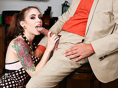 Tattooed stepdaughter gets her ass fucked by stepdads cock