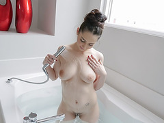 Pounding busty wet girlfriend from behind