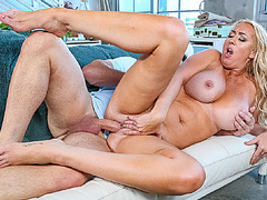 Stepmom Janna sucks Peter's eager dick and takes his balls deep