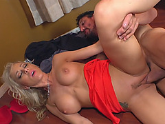 Big hooters woman in red dress gets pounded real hard
