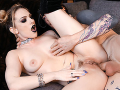 Goth petite blonde gets her tight ass rammed by bfs cock