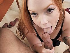 Horny redhead MILF stepmom helps a stepson about future