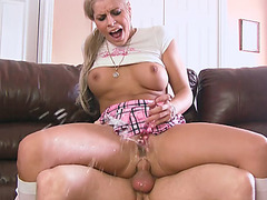 Busty Sarah Vickers toys and squirts in guys face and analed