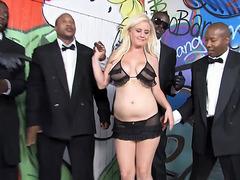 Busty Blonde Cindee Gets Enjoys Interracial Gangbang