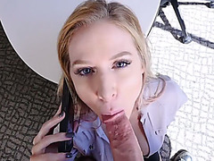 MILF stepmom sucks her stepson while dad on the phone