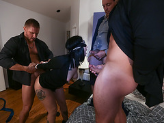 Stella Rae got three cocks to suck and fuck on the day of her and boyfriends anniversary