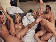 Chanel Grey and Chloe Temple ratchet fuck by their horny dads with big cocks