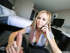 Lucky stepson gets a hot blowjob from sexy MILF Jenna Jones