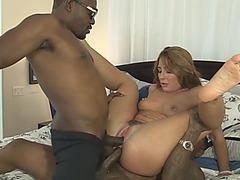 Bushy woman double screwed by black men in the bedroom
