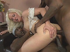 Blond babe anal fucked by big black shafts on the couch