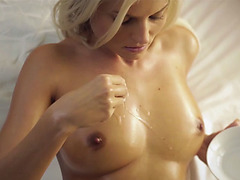 European natural busty beauty fingering her fresh pussy