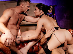 Equally handsome men Danny and Charles banged submissive woman Emily
