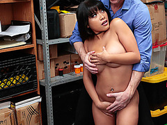 Latina employee fucked by store officer for stealing goods