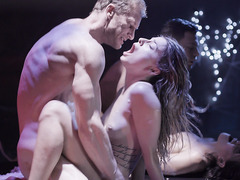 Teen couple enjoy a live sex show adventure