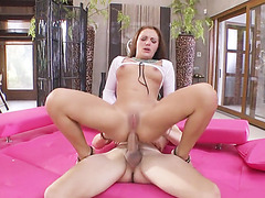 Sexy russian slut gets her ass licked and fucked by big cock