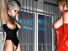 Super hot female elv fucked by woman and her strapon