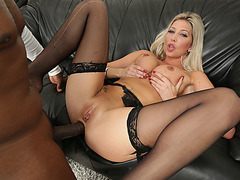 British Lexi Lowe gets her wet pussy and tight ass banged by studs dick