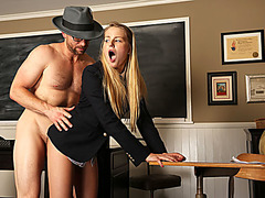 Blonde college babe fucked by instructor for cheating